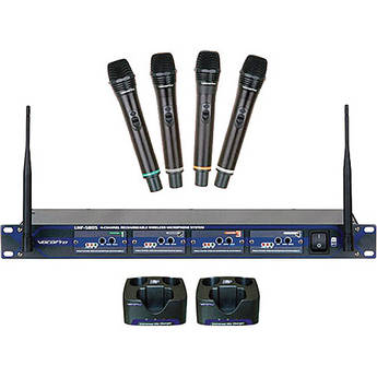 VocoPro UHF-5805 4 Channel UHF Rechargeable Wireless Microphone System