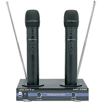 VocoPro VHF-3300 - 2 Channel VHF Rechargeable Wireless Microphone System