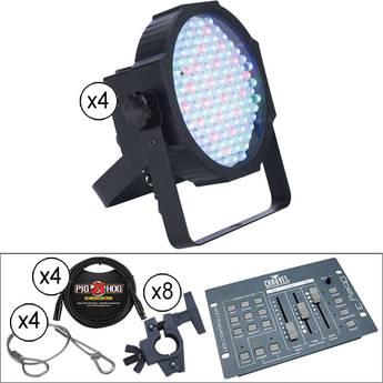 American DJ Quad Mega Par Profile Lights and DMX Controller Kit