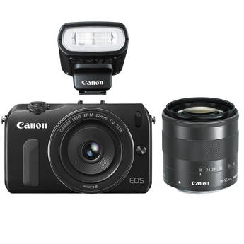 Canon EOS M Mirrorless Digital Camera with 22mm and 18-55mm Lenses and Flash (Black)