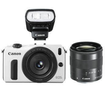 Canon EOS M Mirrorless Digital Camera with Black 22mm and 18-55mm Lenses and Flash (White)