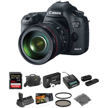 Canon EOS 5D Mark III DSLR Camera Deluxe Accessory Kit with 24-105mm f/4L IS USM AF Lens