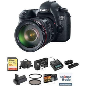 Canon EOS 6D DSLR Camera Deluxe Kit with 24-105mm f/4L IS USM AF Lens