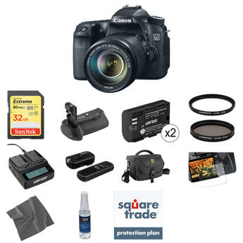 Canon EOS 70D DSLR Camera with 18-135mm f/3.5-5.6 IS STM Lens Deluxe Kit