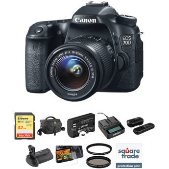 Canon EOS 70D DSLR Camera with 18-55mm f/3.5-5.6 IS STM Lens Deluxe Kit