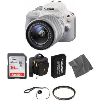Canon EOS Rebel SL1 DSLR Camera with 18-55mm Lens Basic Kit (White)