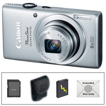 Canon PowerShot ELPH 115 IS Digital Camera Deluxe Kit (Silver)