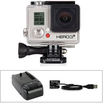 GoPro GoPro HERO3+ Silver Edition with Wall Charger and Battery Eliminator