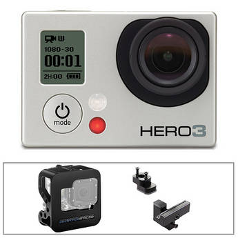 GoPro HERO3: Silver Edition Camera with Cobalt Cage & Accessory Kit