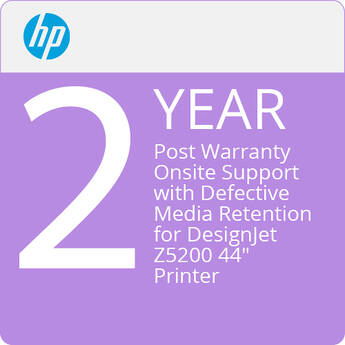 """HP 2-Year Post Warranty Onsite Support with Defective Media Retention for DesignJet Z5200 44"""" Printer"""