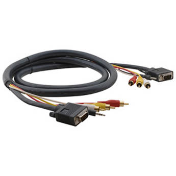Kramer Molded 15-Pin HD + Audio + 3 RCA Male To Male Cable (6')