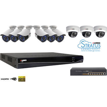 Lorex LNR300 16-Ch 3TB NVR Kit with POE Switch and 9 IP Cameras