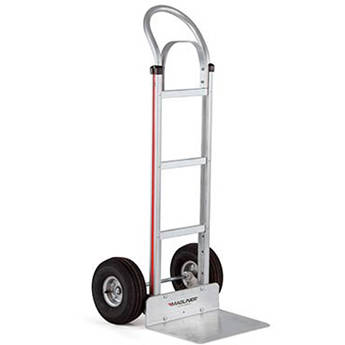 """Magliner HMA112K14 Straight-Back Hand Truck with 10"""" 4-Ply Pneumatic Wheels and Brace"""