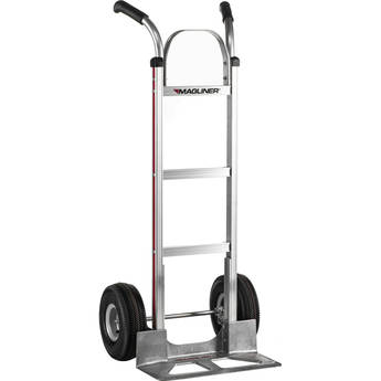 "Magliner HMA116UA4 Straight-Back Hand Truck with 10"" 4-Ply Pneumatic Wheels and Double-Grip Handle"