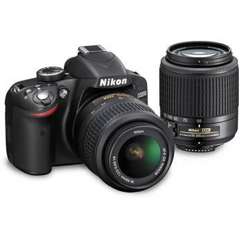 Nikon D3200 DSLR Camera Kit with 18-55mm VR and 55-200mm DX Lenses (Black)