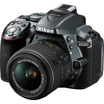 Nikon D5300 DSLR Camera with 18-55mm Lens (Gray)