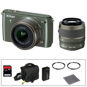 Nikon 1 S1 Mirrorless Digital Camera Basic Accessory Kit with 11-27.5mm and 30-110mm Lenses (Khaki)