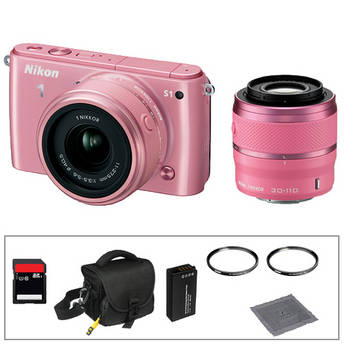 Nikon 1 S1 Mirrorless Digital Camera Basic Accessory Kit with 11-27.5mm and 30-110mm Lenses (Pink)