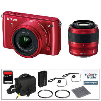 Nikon 1 S1 Mirrorless Digital Camera Deluxe Accessory Kit with 11-27.5mm and 30-110mm Lenses (Red)