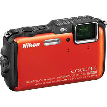 Nikon COOLPIX AW120 Waterproof Digital Camera (Orange)