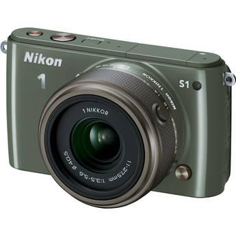 Nikon 1 S1 Mirrorless Digital Camera with 11-27.5mm Lens (Khaki)