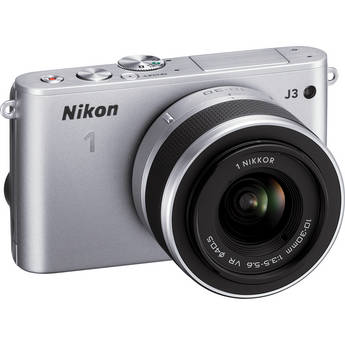 Nikon 1 J3 Mirrorless Digital Camera with 10-30mm Lens (Silver)