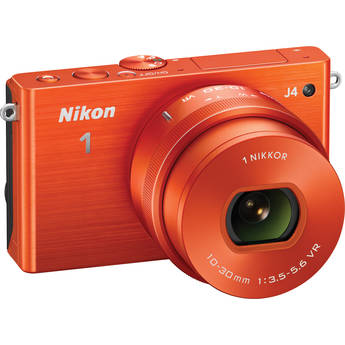 Nikon 1 J4 Mirrorless Digital Camera with 10-30mm Lens (Orange)