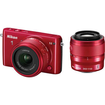 Nikon 1 S2 Mirrorless Digital Camera with 11-27.5mm and 30-110mm Lens (Red)