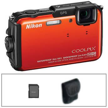 Nikon COOLPIX AW110 Digital Camera Basic Kit (Orange)