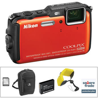 Nikon COOLPIX AW120 Waterproof Digital Camera Deluxe Kit (Orange)