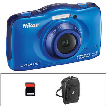 Nikon COOLPIX S32 Digital Camera Basic Kit (Blue)