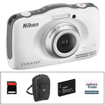 Nikon COOLPIX S32 Digital Camera Deluxe Kit (White)