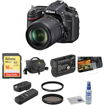 Nikon D7100 DSLR Camera Basic Accessory Kit with 18-105mm f/3.5-5.6 Lens