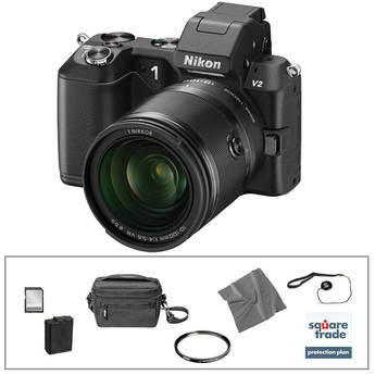 Nikon 1 V2 Mirrorless Digital Camera Deluxe Accessory Kit with 10-100mm Lens (Black)