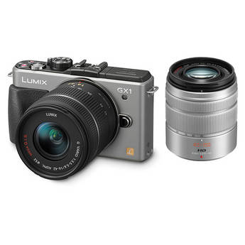 Panasonic LUMIX DMC-GX1 Mirrorless Micro Four Thirds Digital Camera Kit with G VARIO 14-42mm and 45-150mm Lenses (Silver)