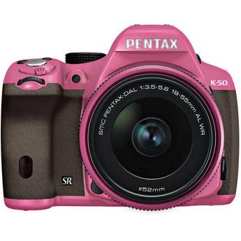 Pentax K-50 Digital SLR Camera with 18-55mm f/3.5-5.6 Lens (Pink/Brown)