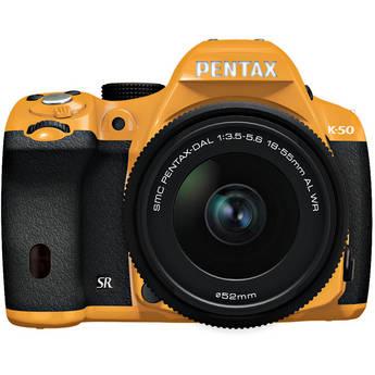 Pentax K-50 Digital SLR Camera with 18-55mm f/3.5-5.6 Lens (Orange/Black)