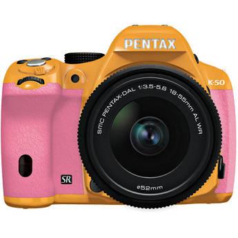Pentax K-50 Digital SLR Camera with 18-55mm f/3.5-5.6 Lens (Orange/Pink)
