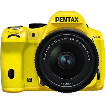 Pentax K-50 Digital SLR Camera with 18-55mm f/3.5-5.6 Lens (Yellow/Yellow)