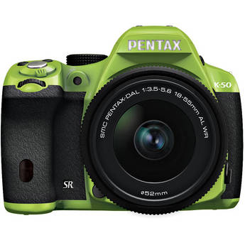 Pentax K-50 Digital SLR Camera with 18-55mm f/3.5-5.6 Lens (Green/Black)