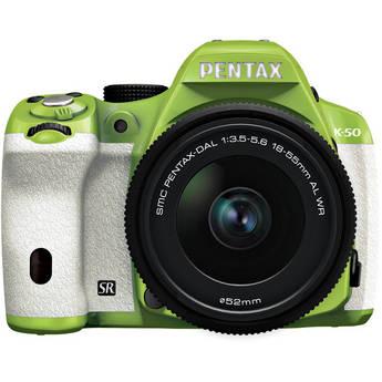 Pentax K-50 Digital SLR Camera with 18-55mm f/3.5-5.6 Lens (Green/White)