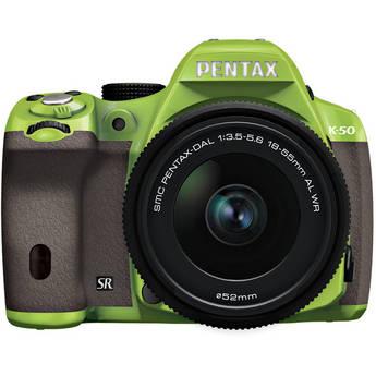 Pentax K-50 Digital SLR Camera with 18-55mm f/3.5-5.6 Lens (Green/Brown)