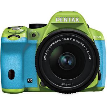 Pentax K-50 Digital SLR Camera with 18-55mm f/3.5-5.6 Lens (Green/Aqua)