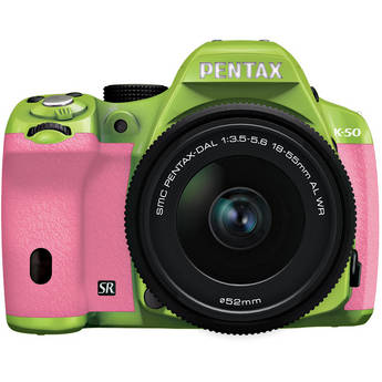 Pentax K-50 Digital SLR Camera with 18-55mm f/3.5-5.6 Lens (Green/Pink)