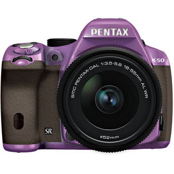 Pentax K-50 Digital SLR Camera with 18-55mm f/3.5-5.6 Lens (Purple/Brown)