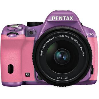 Pentax K-50 Digital SLR Camera with 18-55mm f/3.5-5.6 Lens (Purple/Pink)