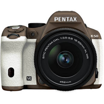 Pentax K-50 Digital SLR Camera with 18-55mm f/3.5-5.6 Lens (Cocoa Brown/White)