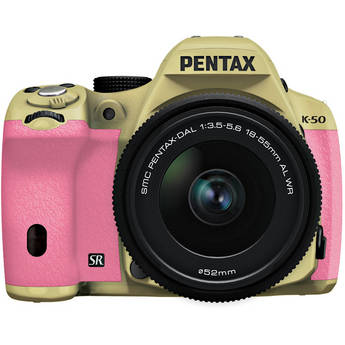 Pentax K-50 Digital SLR Camera with 18-55mm f/3.5-5.6 Lens (Sand Beige/Pink)