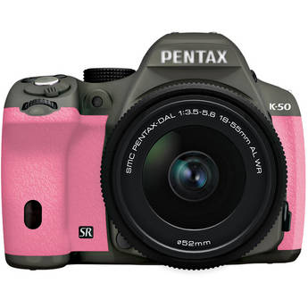 Pentax K-50 Digital SLR Camera with 18-55mm f/3.5-5.6 Lens (Olive Green/Pink)