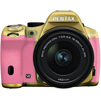 Pentax K-50 Digital SLR Camera with 18-55mm f/3.5-5.6 Lens (Gold/Pink)